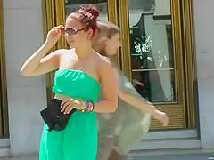 Hot tourist girl's see through dress