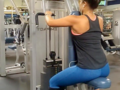 Checking boobs during triceps exercise