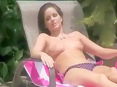 Teenage girls peeped topless at a pool