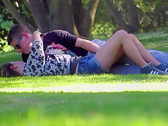 Teens in love and caught by a voyeur