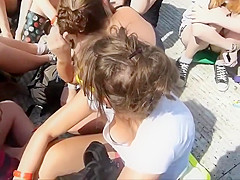 Funny teen girl's ravishing breast