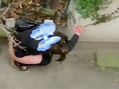 Butterfly girl filmed while taking a wizz