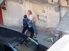 Spying a fat girl get fucked from balcony