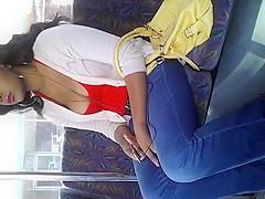 Adorable black bouncing boobs on a bus