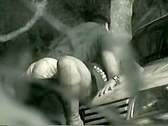 Sneaky voyeur spies sex on a car hood