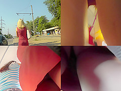 Best upskirt video of a blonde lassie with a g-string