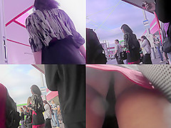 Upskirt porn with brunette-hair gal in a public place
