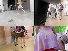 Bitch in skirt and g-string filmed by upskirting voyeur