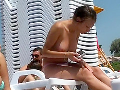 Naked Girl with Great Big Tits Topless at the Beach