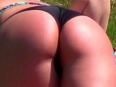 Candid - Hawt Large Bikini A-Hole At The Public Swimming Pool