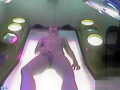 Fantastic doll fingers her orgasmic pussy in the tanning bed