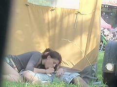 Good looking fangirl gets rammed behind a tent at the open air party