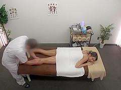 Cute lady receives a sensual full body massage