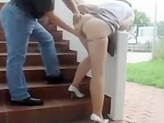 Classy lady gets groped and nailed on some steps