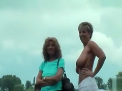 Public flashing and pussy eating with German lesbian mommies