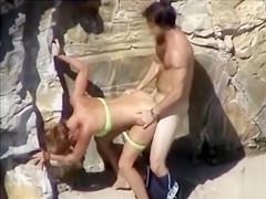 Blowjob and doggystyle sex with woman in bikini