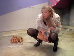 Gorgeous blonde pisses in public for a thrill