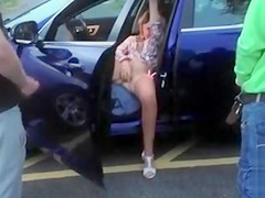 Two strangers cum on my wife in a parked car