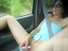 Wife pleasures her clit as we drive in the car