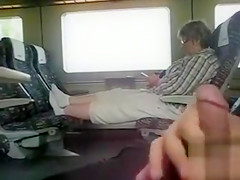Stroking my dick and cumming on the train