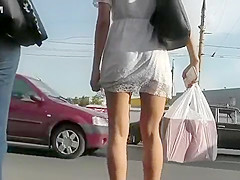 Hot upskirt clip shows a girl's perfect young ass