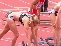 Lean body sprinters get ready for a race
