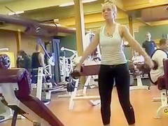 Spandex pants workout with a hot blonde