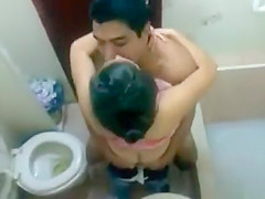My roommate fucks a girlfriend in our bathroom