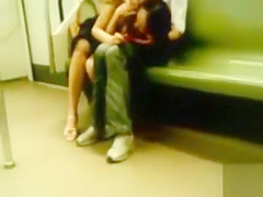 Charming Asian girls hook up in the train