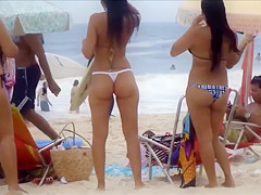 Impeccable Brazilian butts of the public beach in Sao Paulo