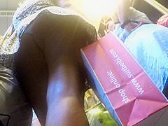 Upskirt of sexy girl in a ###wn flower dress.