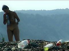 Mature woman with a big ass on a nudist beach