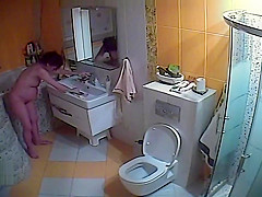 pregnant wife in toilet treats pussy