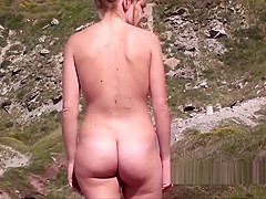 Amazing Hot Naked Blonde Nudist Shaved Pussy spycam video