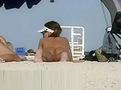 Just real nude MILFs at beach - voyeur