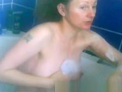 Milf big tits bathtime soap up tits and cunt voyeur spycam-
