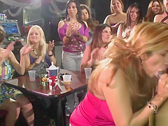 Filthy chick gobbles real stripper dick