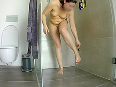 Hidden voyeur cam Pussy shaving in the shower