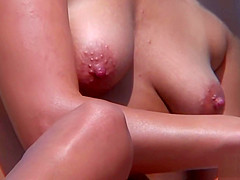 HOT Nudist Amateur Close-Up Shaved Pussy Oiled Tits Voyeur