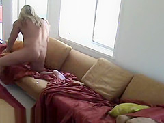 Blonde Lover Blows Off His Cum On Big Tit Brunette