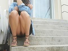 Candid teen upskirt pantie feet voyeur