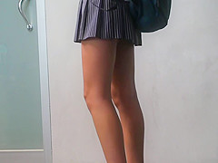 long close up view of schoolgirl legs