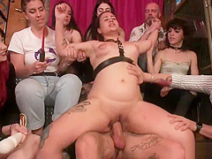 Redhead bbw fucked in group in a bar