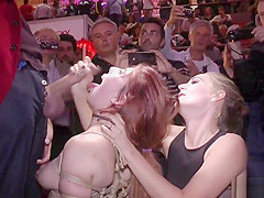 Redhead made suck and fuck at sex expo