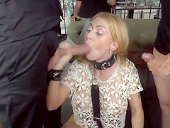 Blonde double penetration in public