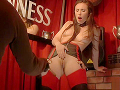Slut in leather lingerie in public