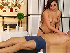 Cute masseuse sucking cock while eaten out