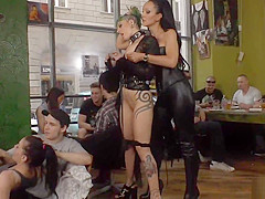 Euro slut gangbanged in public bar