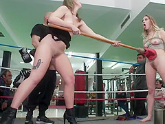 Tied up blonde gangbang in boxing gym