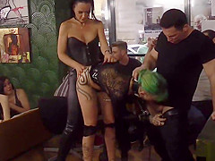 Mistress in leather disgraces Euro slut